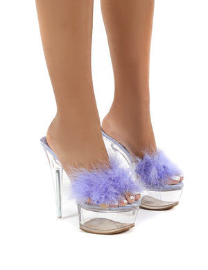 Behaviour Lilac Perspex Platform Feather Stiletto Heels