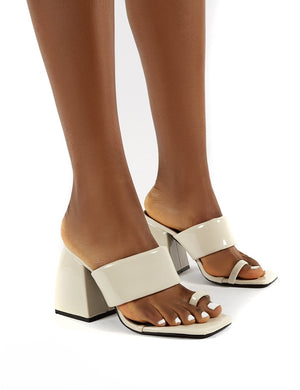 Caden Cream Patent Toe Post Block Heel Sandal Heeled Mules
