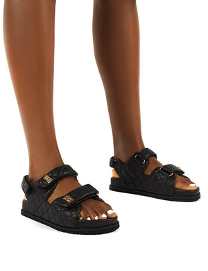 Carmen Black Buckle Strap Flat Sandals