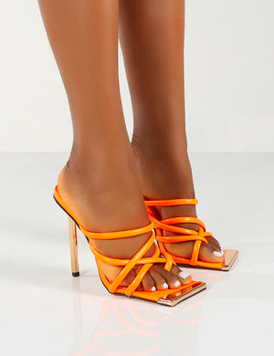 Coincidence Orange Strappy Square Toe Metallic Stiletto Heels
