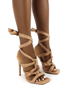 Convo Nude Knotted Lace Up Stiletto High Heels
