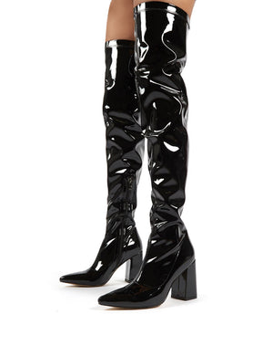 Damn Black PU Thigh High Heeled Boots