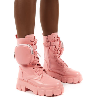 Intention Pink Chunky Sole Pouch Ankle Boots