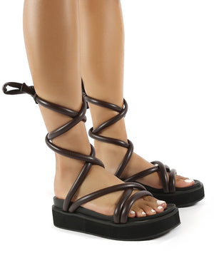 Jolly Choc Drench PU Weaved Ankle Strap Detail Chunky Sandals
