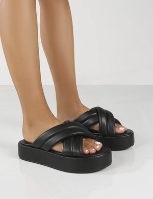 Kyla Wide Fit Black PU Padded Cross Over Sandals