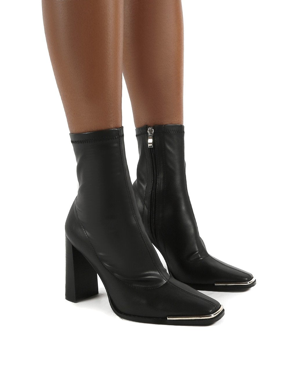 Liberty Black Sock High Heeled Ankle Boots - Us 5