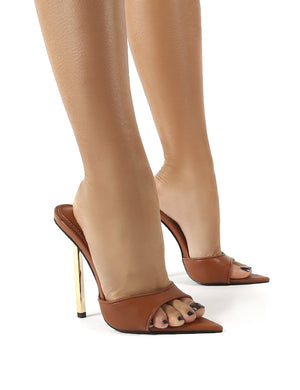 Mila Tan Pu Stiletto Heeled Mules