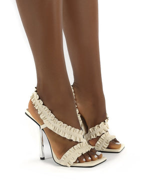 Scrunchie Stone Ruffle Strap Square Toe Stiletto Heels