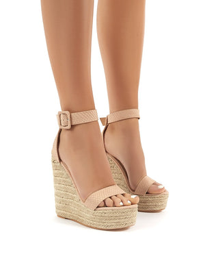 Amalie Nude Espadrille Wedge Heeled Sandals
