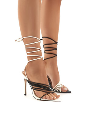 Controversial Mono Strappy Lace Up High Heels