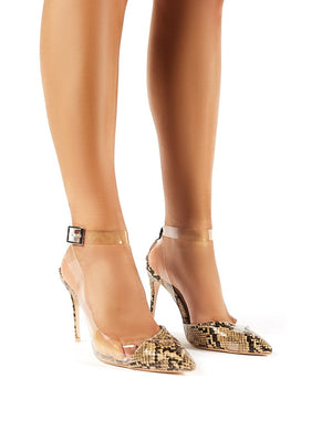 Crescent Natural Snakeskin Perspex Stiletto Court Heels