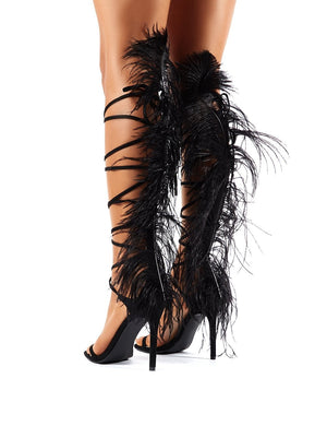 Frolic Black Feather Extreme Lace Up Stiletto High Heels