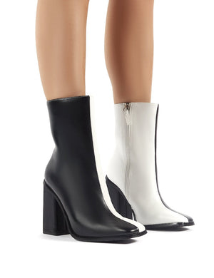Slick Monochrome Square Toe Block Heeled Ankle Boots