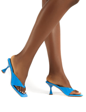 Harlie Blue Toe Post Square Toe Heeled Mules