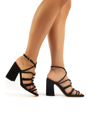 Arabella Black Faux Suede Strappy Block High Heels