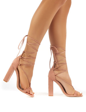 Frankie Nude Suede Lace Up Block High Heels