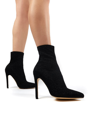 Glitz Black Glitter Sock Ankle Boot Heels