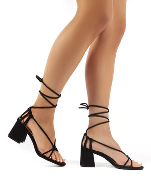 Yola Black Faux Suede Strappy Block Heeled Lace Up Sandals