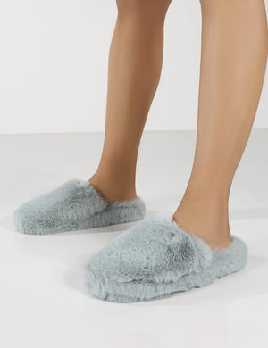 Baloo Light Blue Faux Fur Fluffy Slipper