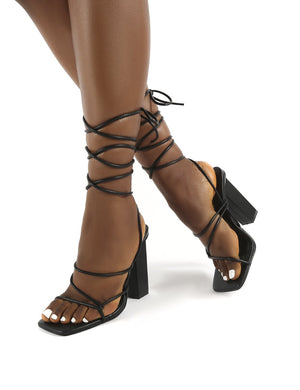Mollie Black Pu Wide FIt Lace Up Block Heels
