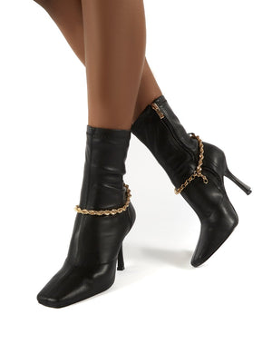 Sacci Black Chain Detail Square Toe Stiletto Heel Ankle Boots