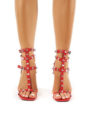 Finally Red Patent Studded Block Heels
