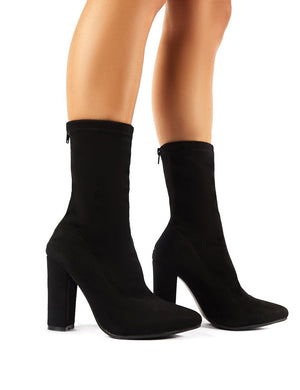 Montreal Sock Fit Ankle Boots in Black Faux Suede