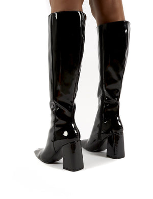 Apology Black Patent Knee High Block Heel Boots