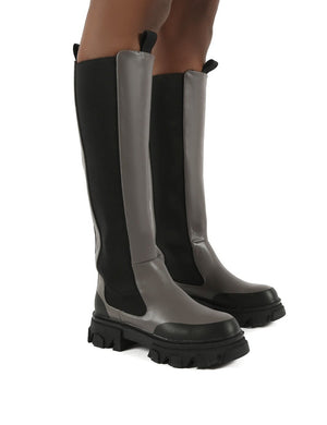 Monique Grey Chunky Sole Knee High Boots