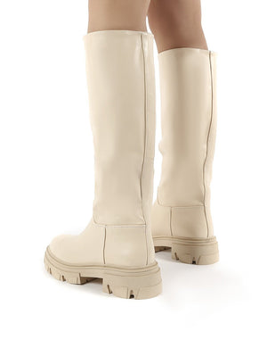Sabrina Beige Knee High Chunky Sole Boots