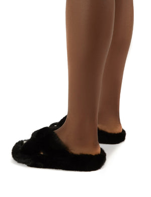 Snuggles Black Fluffy Faux Fur Slippers