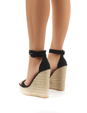 Amalie Black Espadrille Wedge Heeled Sandals