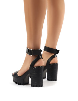 Avenue Black Cleated Sole Platform Block High Heels