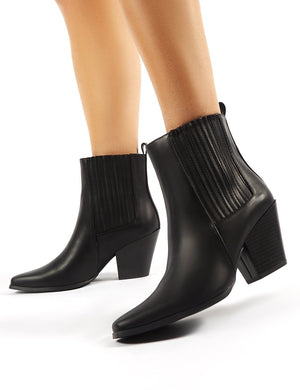 Hazy Black Block Heeled Ankle Boots