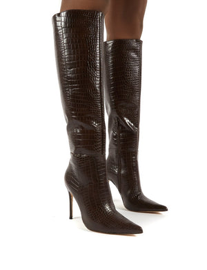 Aimi Chocolate Croc Knee High Stiletto Heel Boots
