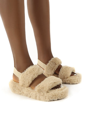 Dawn Beige Strap Back Faux Fur Fluffy Slippers