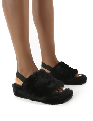 Dreams Black Strap Back Faux Fur Fluffy Slippers