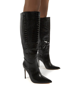 Go Wide Fit Black Knee High Pointed Toe