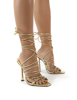 Illusion Gold Pu Lace Up Strappy Stiletto Heels