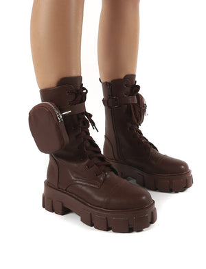Intention Wide Fit Chocolate Chunky Sole Pouch Ankle Boots
