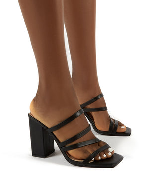 Kalia Wide Fit Black Block Heel Strappy Mules