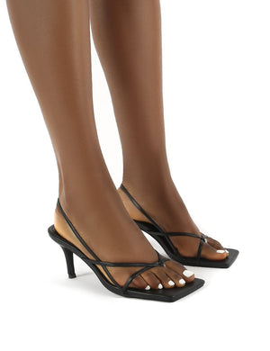 Mika Black Pu Wide Fit Square Toe Strappy Mid Heels