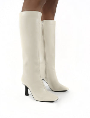 Repeat Bone Pu Heeled Knee High Boots