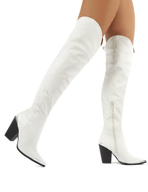 Honor White Western Block Heeled Knee High Boots