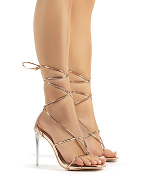 Hysteria Rose Gold PU Strappy Lace Up Perspex Stiletto High Heels