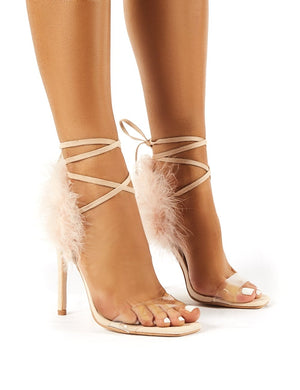 Desiree Nude Feather Lace Up Stiletto
