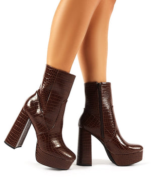 Diversion Brown Croc Block Heeled Platform Ankle Boots