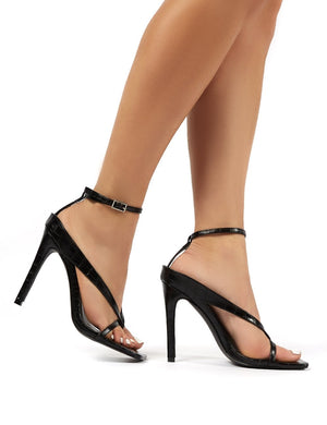 Emilia Black Croc Strappy Stiletto High Heels