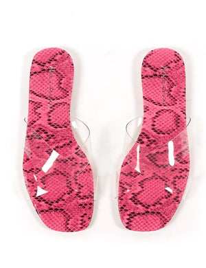 Harmony Pink Snakeskin and Perspex Flat Sandals