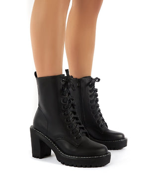 Fearne Black Lace Up Chunky Heeled Ankle Boots